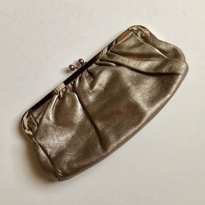 Express Metallic Silver Clutch Handbag